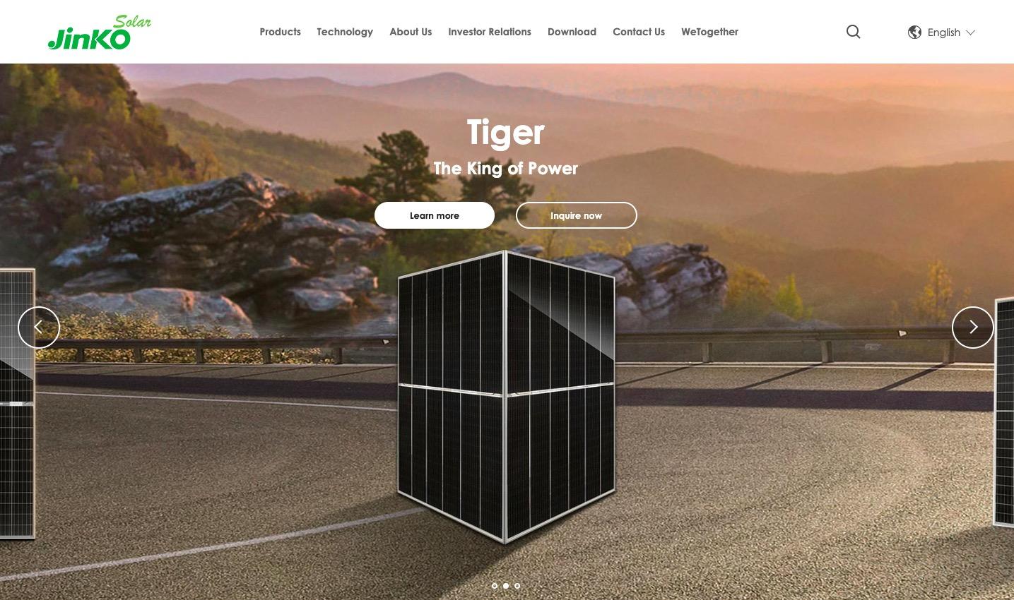 Jinko Solar Panels main page