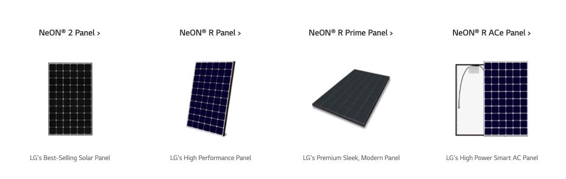 LG Solar different types
