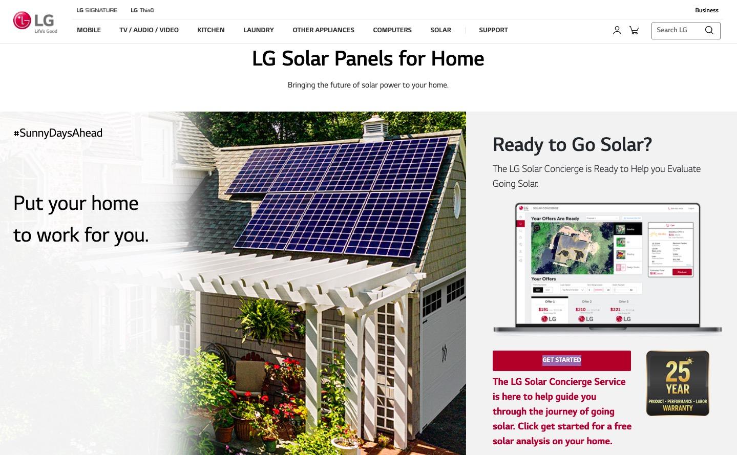 LG Solar main page