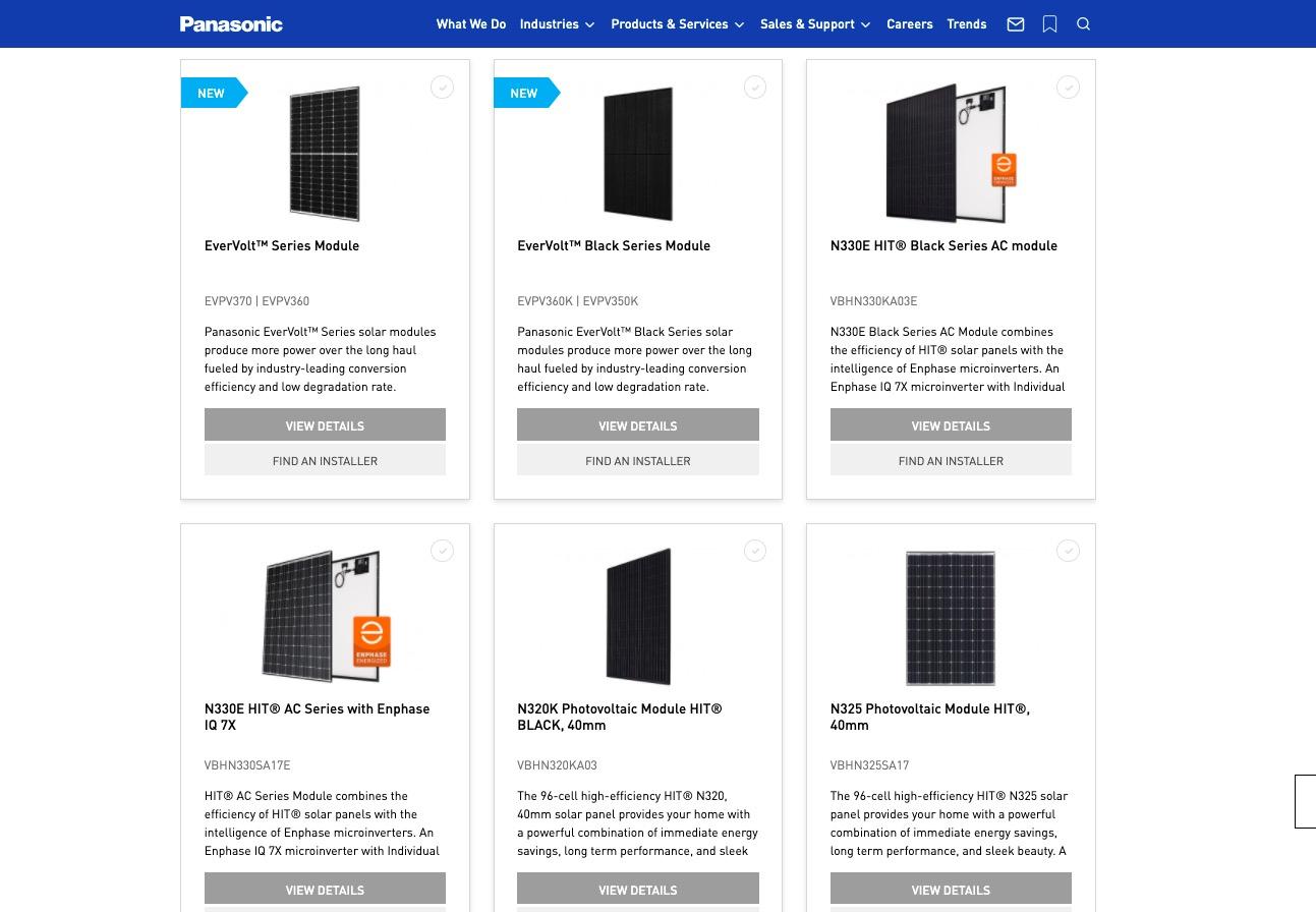 Panasonic Solar different types