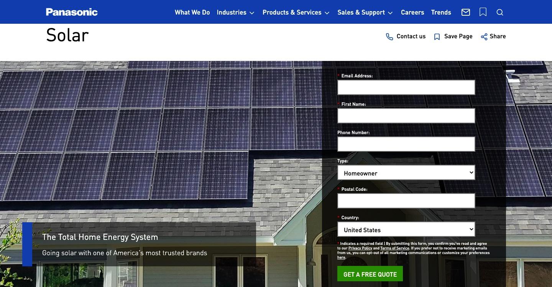 Panasonic Solar main page