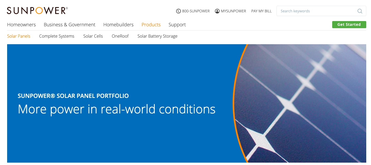 SunPower Solar Panels main page