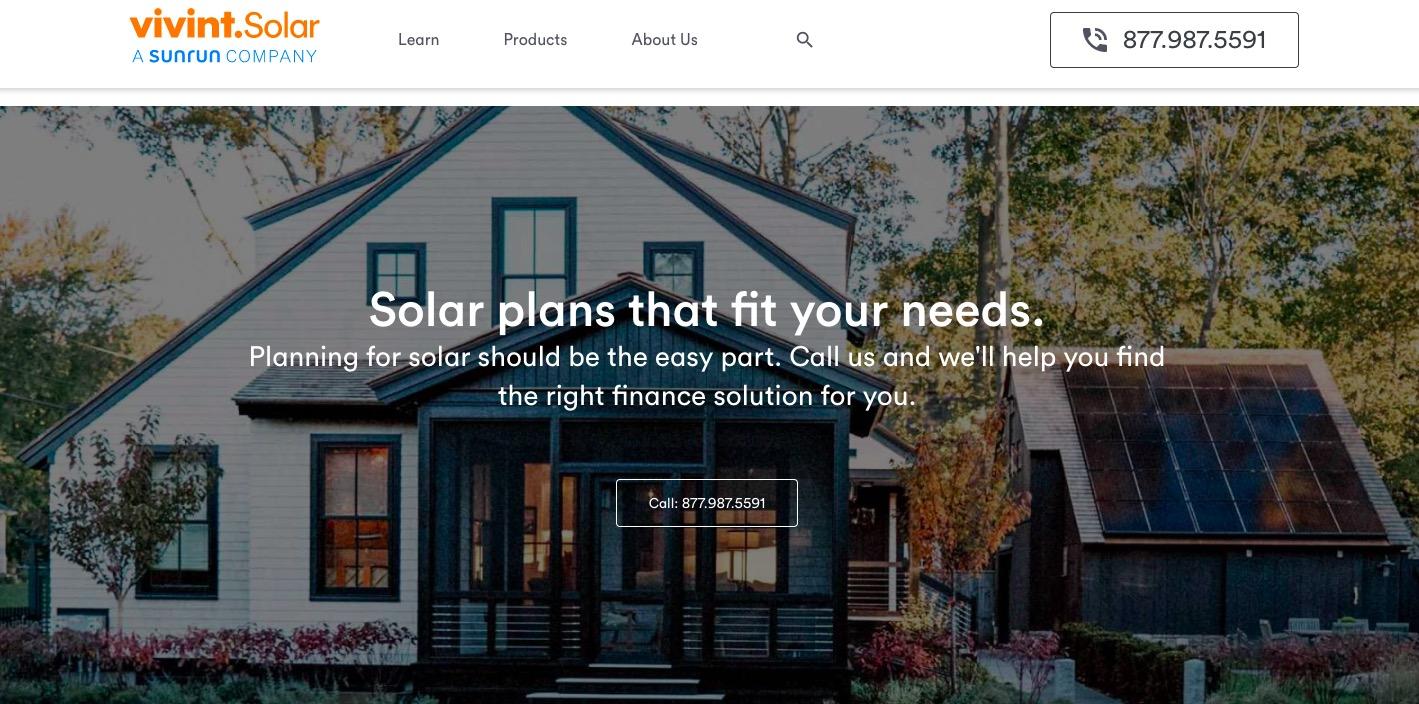 Vivint Solar main page