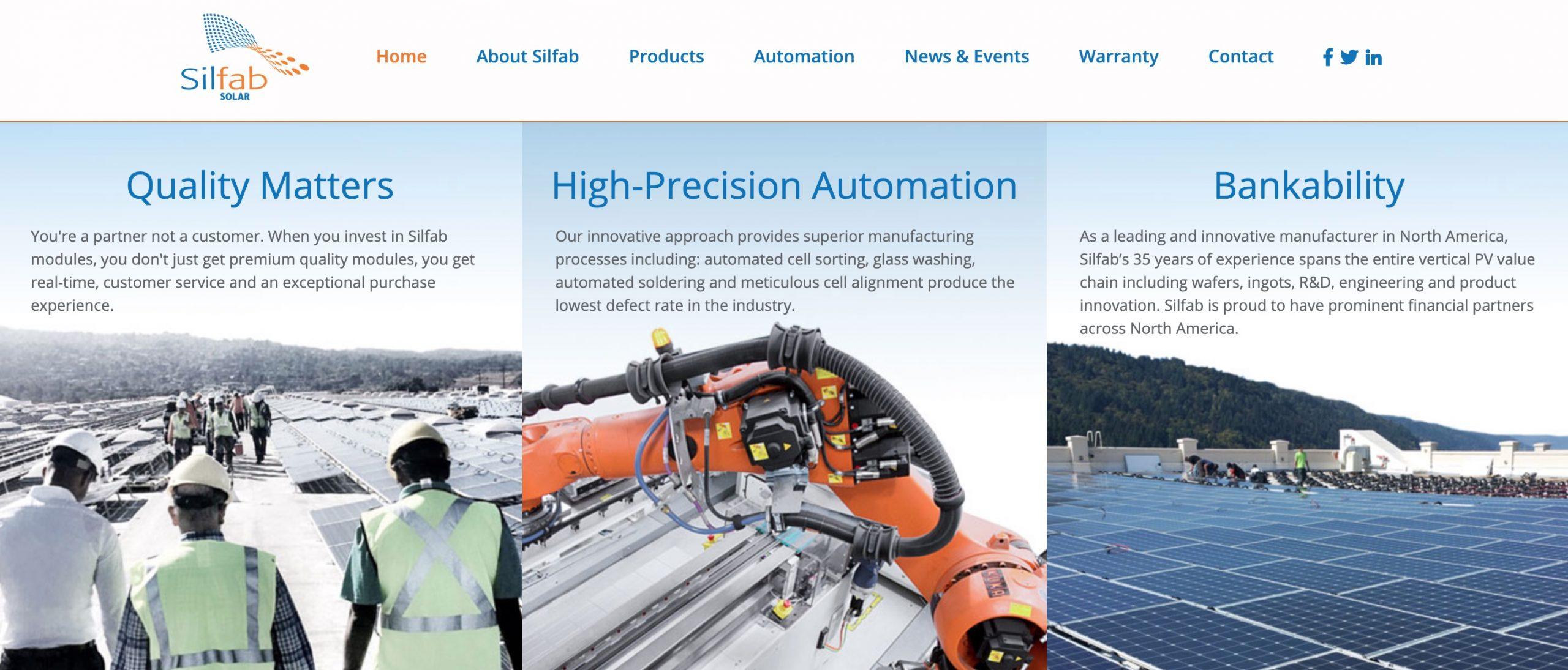 silfab solar panel main page